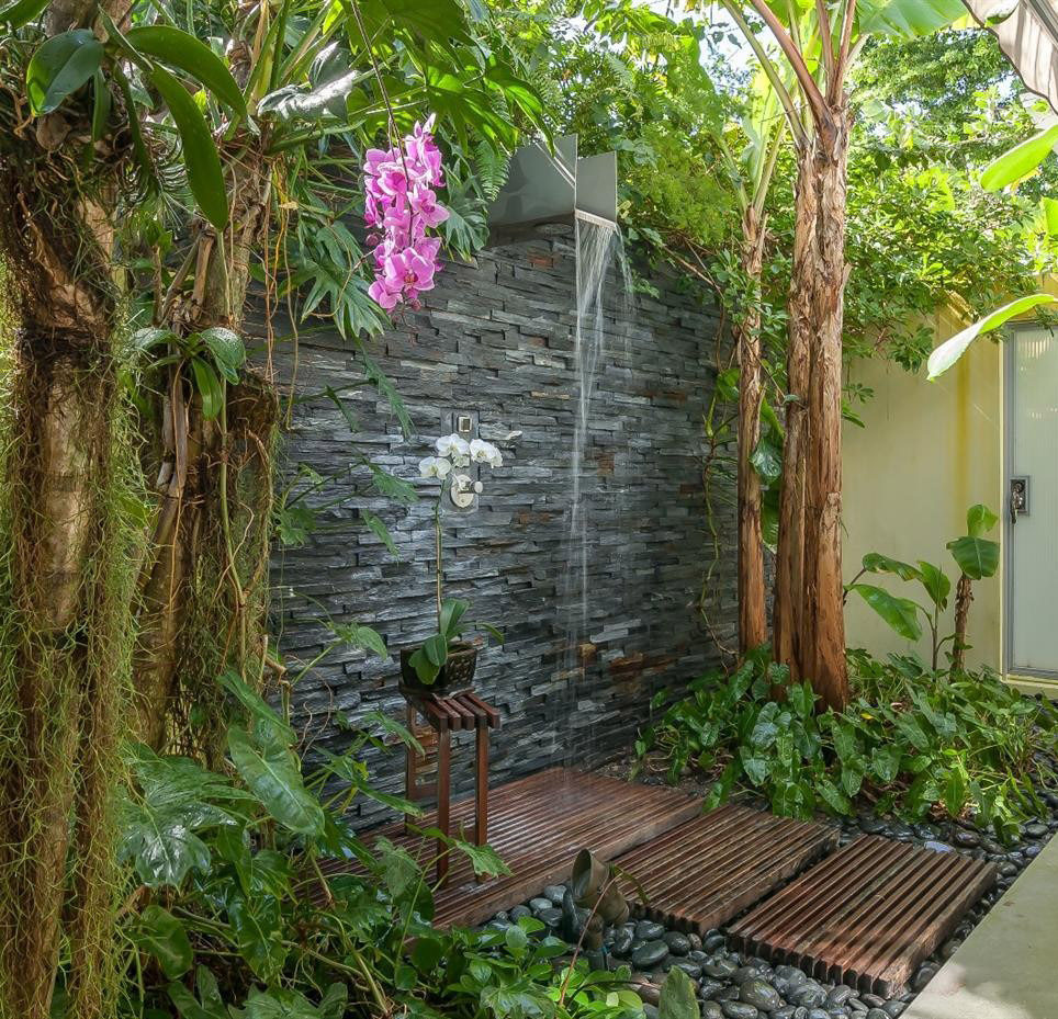 Stone Wall With Flowers Garden Shower Design - 50 stunning outdoor shower spaces that take you to urban paradise