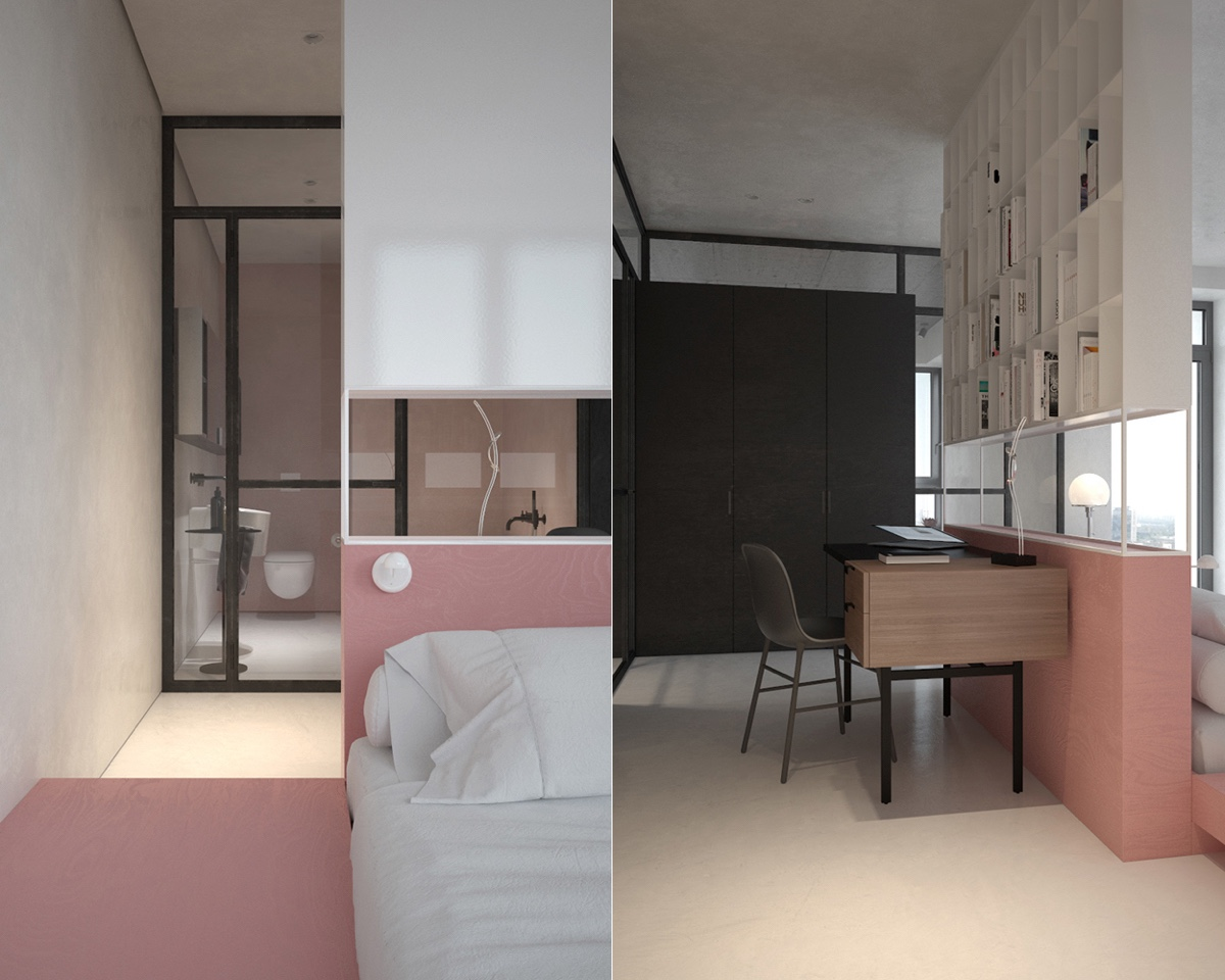 Study Area And Bedroom Bookshelf Pink Accent - 3 fabulously sleek studio apartments that are timeless