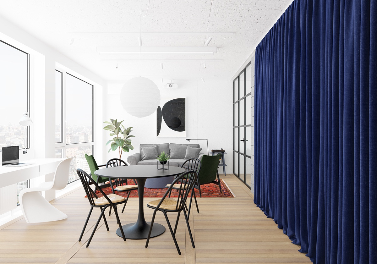 Study Area Table Living Room Curtain Divider - 3 fabulously sleek studio apartments that are timeless