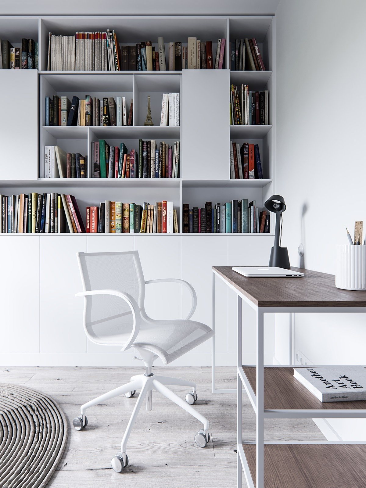 Stylish Home Office And Library With Minimalist Interior Decor - A pair of stylish apartments that put their extra rooms to good use