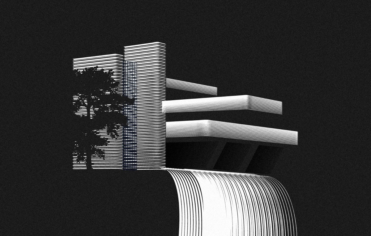 The Falling Water Kaufmann In Monochrome - Spectacular black white illustrations of iconic architectural landmarks by designer andrea minini