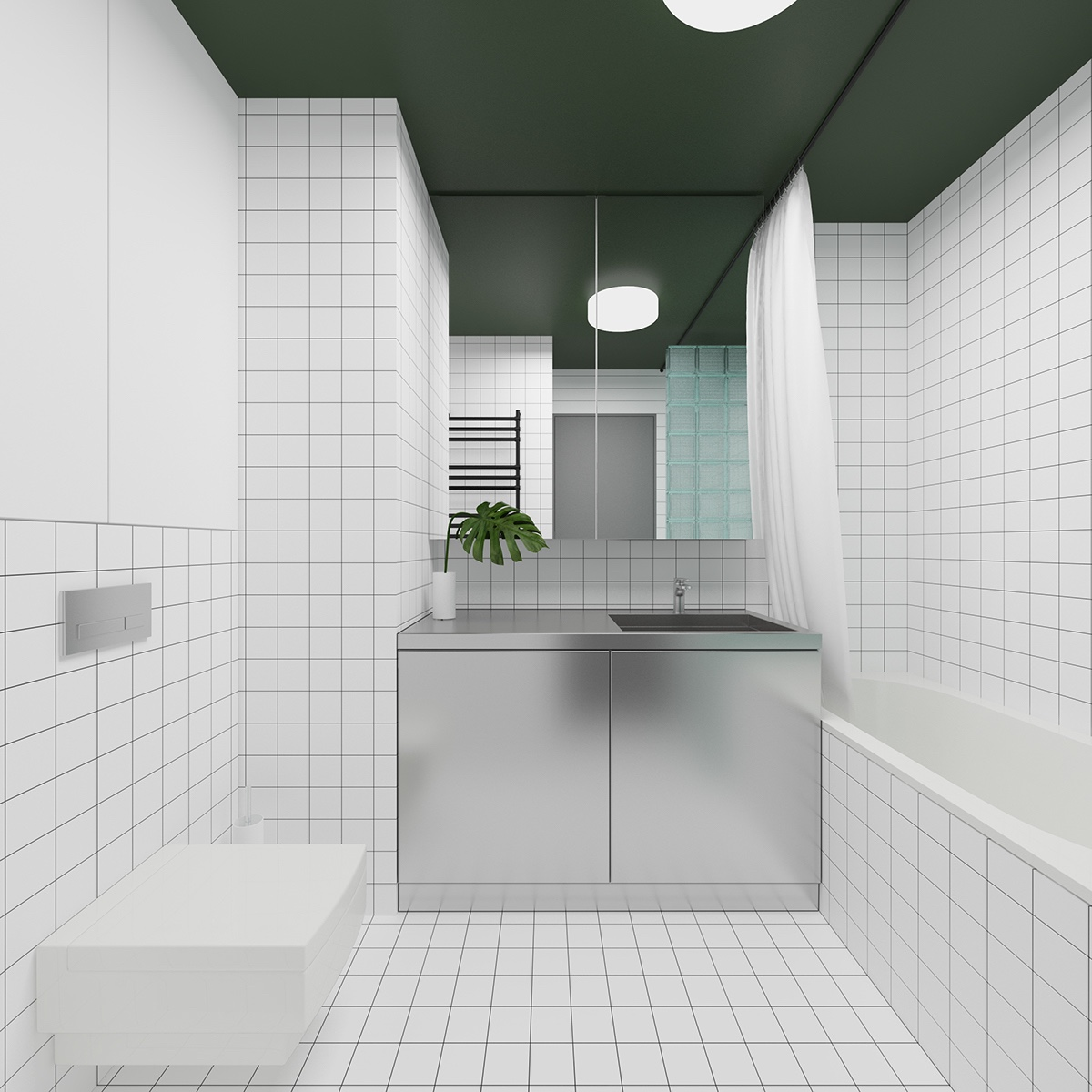 Tiled Bathroom Metal Cupboards - 3 fabulously sleek studio apartments that are timeless