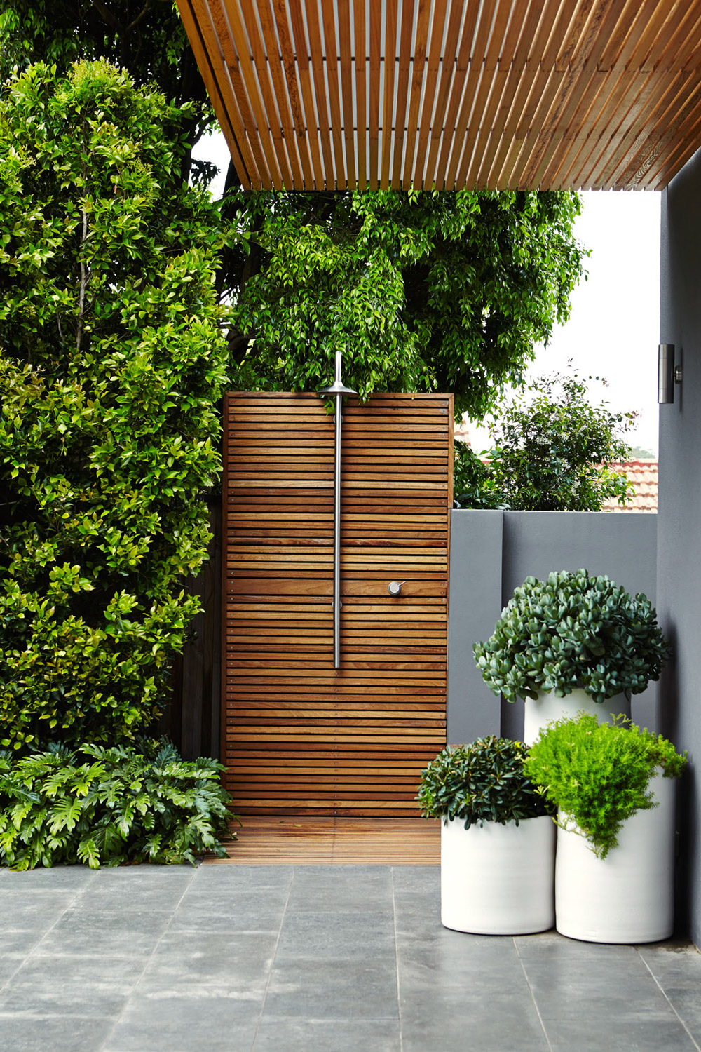 Tiles And Plants Wooden Outside Shower - 50 stunning outdoor shower spaces that take you to urban paradise