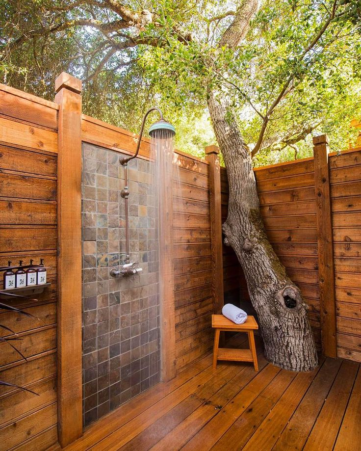 Trees And Tiled Wooden Outside Shower - 50 stunning outdoor shower spaces that take you to urban paradise