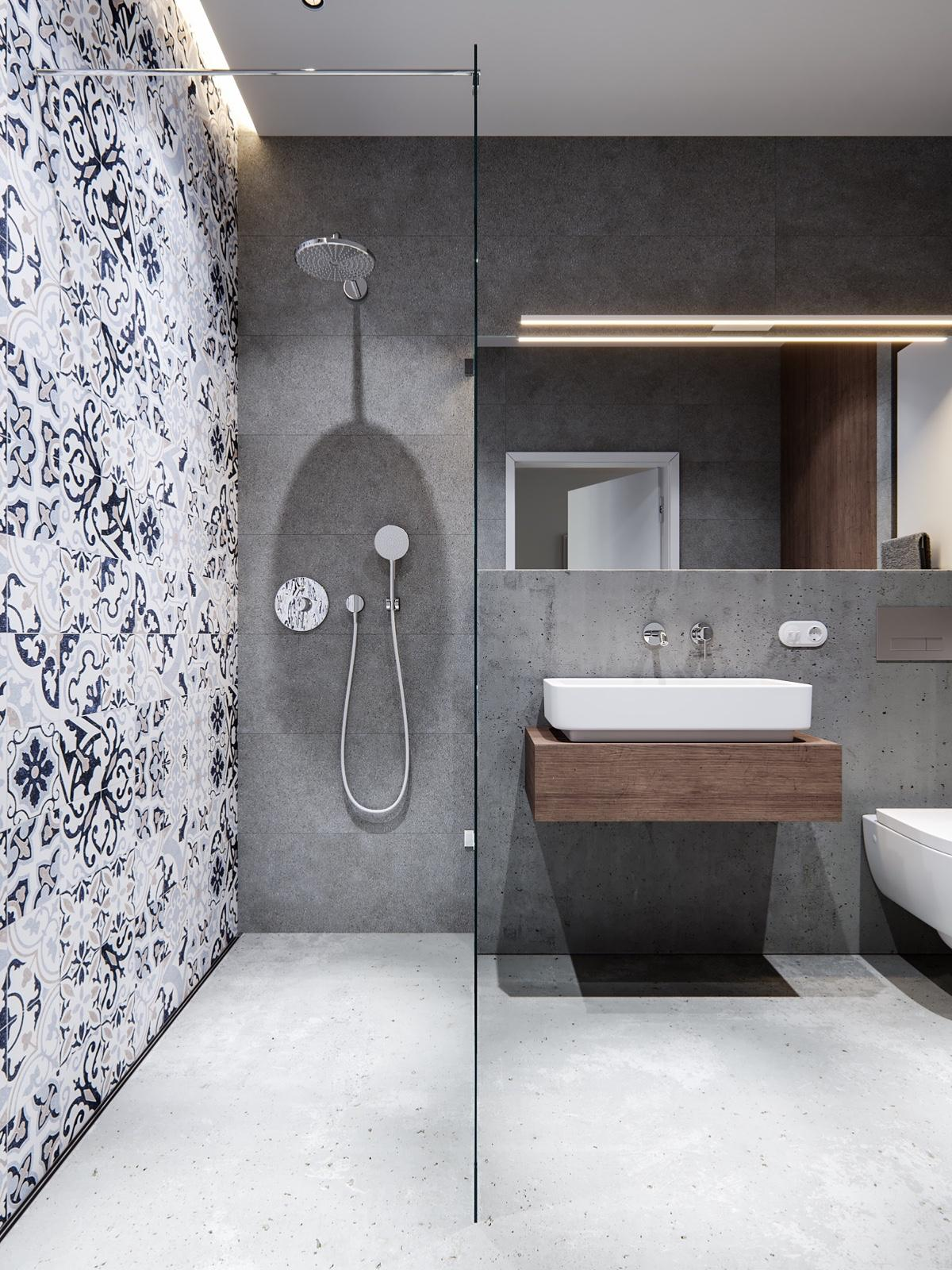 Unique Blue Bathroom Tile Design - A pair of stylish apartments that put their extra rooms to good use