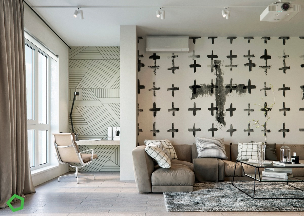 Home designing relaxing color schemes in 3 efficient for Geometric accent wall