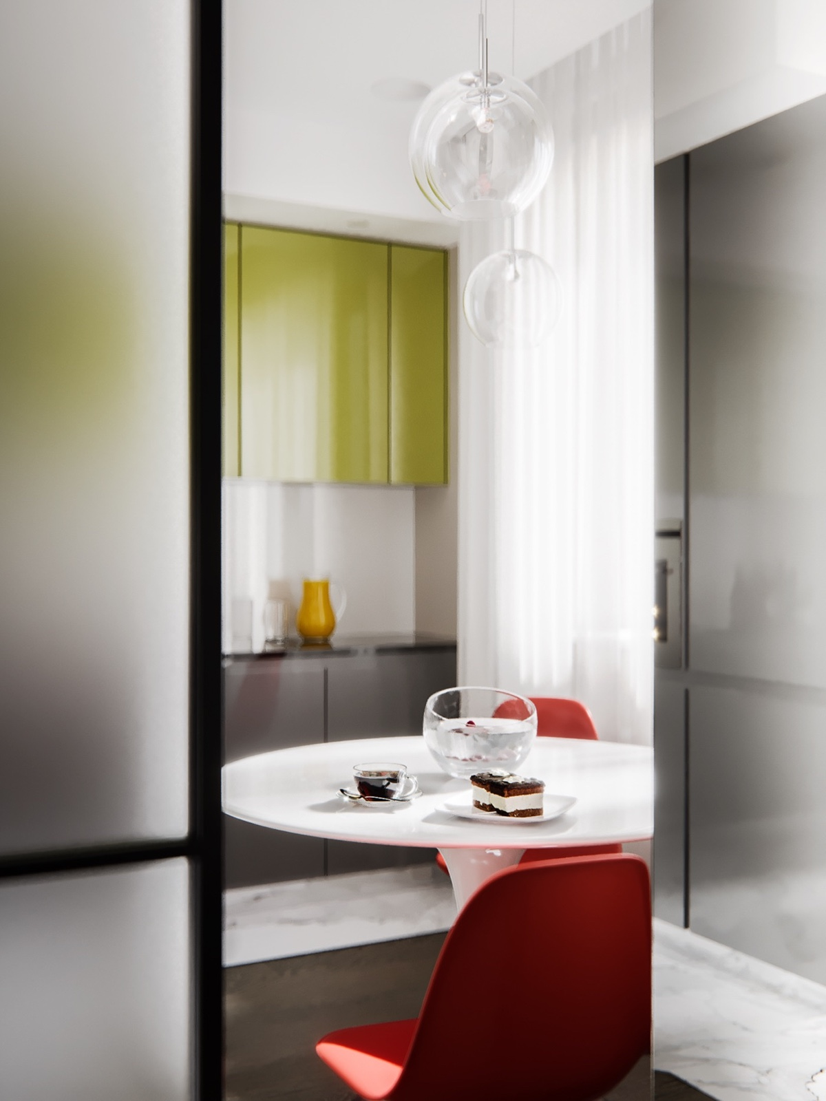Unique Kitchen Color Scheme - 3 modern studio apartments with glass walled bedrooms