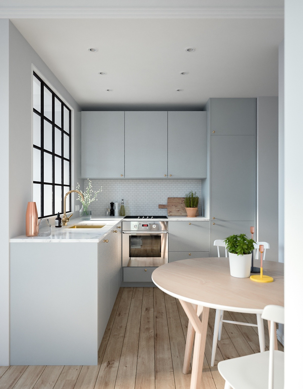 Unique Pastel And Brass Kitchen Decor - 3 modern studio apartments with glass walled bedrooms