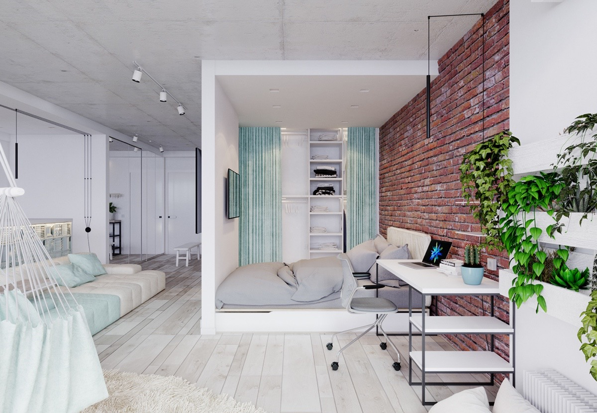 4 Bright Studio Apartments With Creative Bedroom Placement