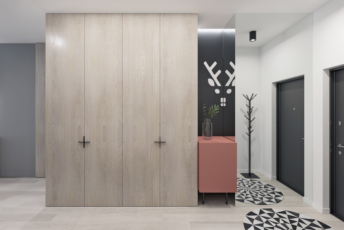 Wooden Cupboards Geometric Rug Wall Art - 3 fabulously sleek studio apartments that are timeless