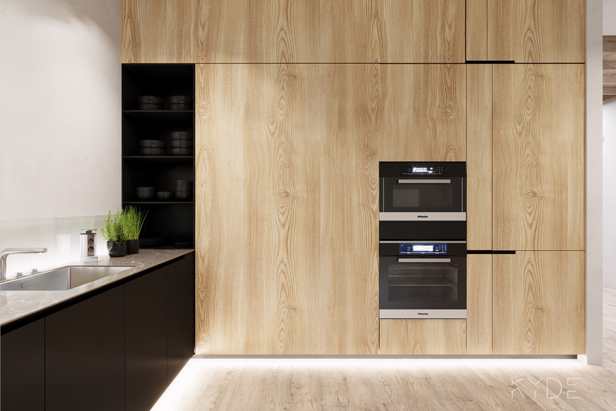 Wooden Cupboards In Sleek Kitchen - A summer ready home perfect for your dream vacation