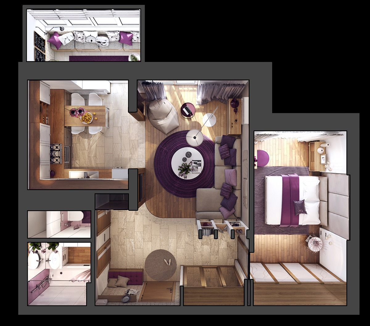 D Floor Plan For Medium Sized Apartment - 3 one bedroom apartments under 750 square feet 70 square metres includes layouts