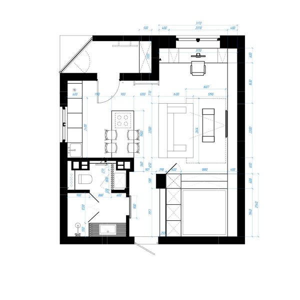 Studio apartments in three modern styles for 45 square meter house interior design
