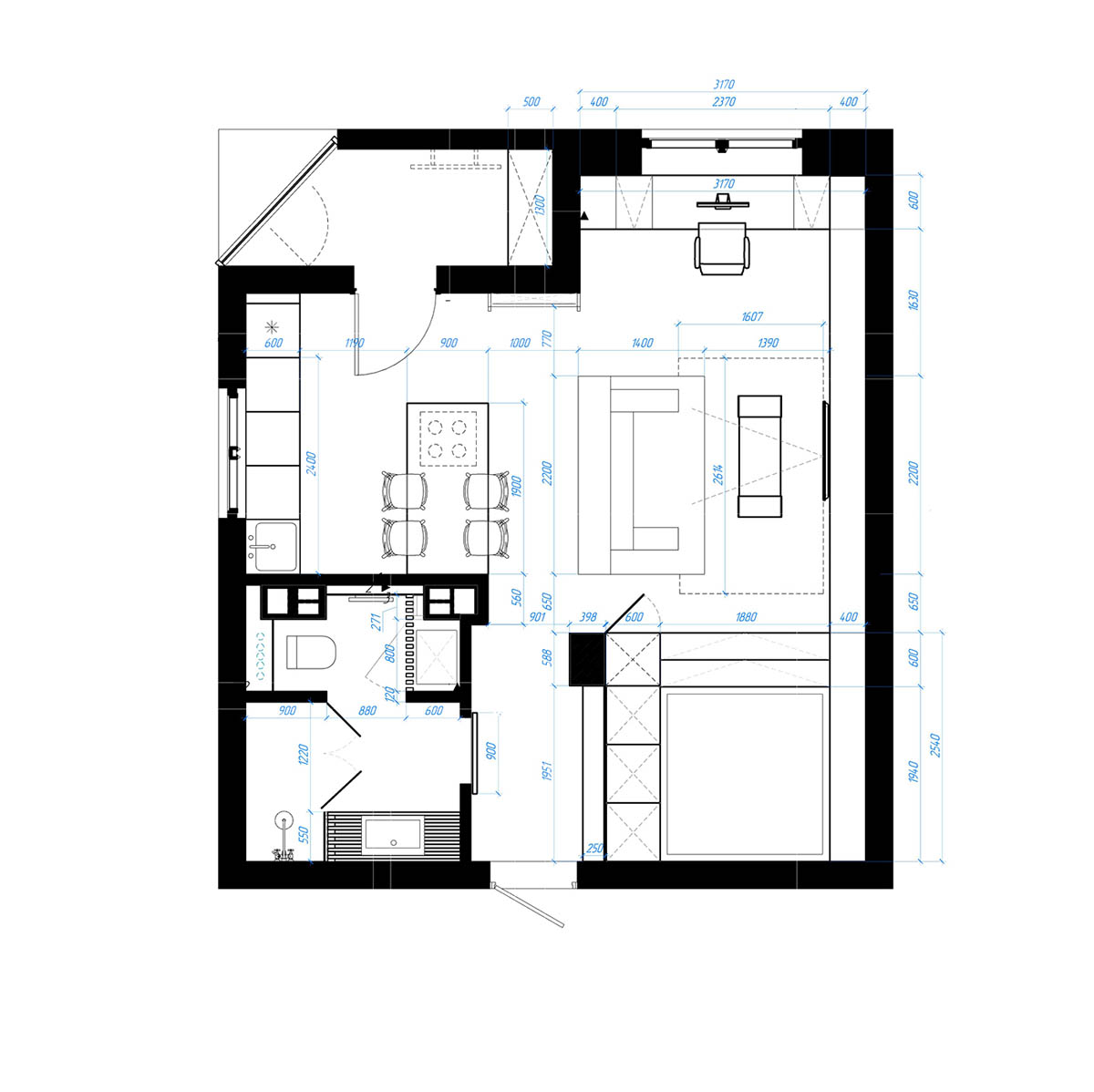 Studio apartments in three modern styles for Floor plan for studio apartment