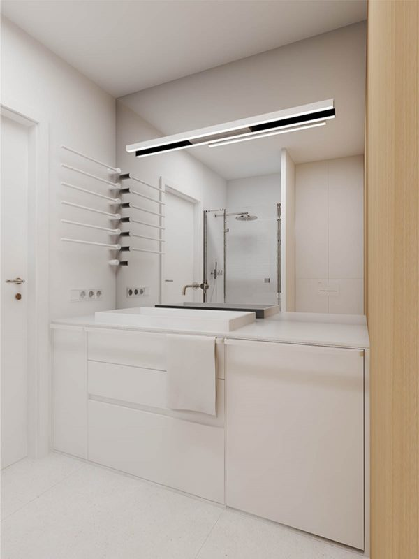 Studio apartments in three modern styles for All white bathroom designs