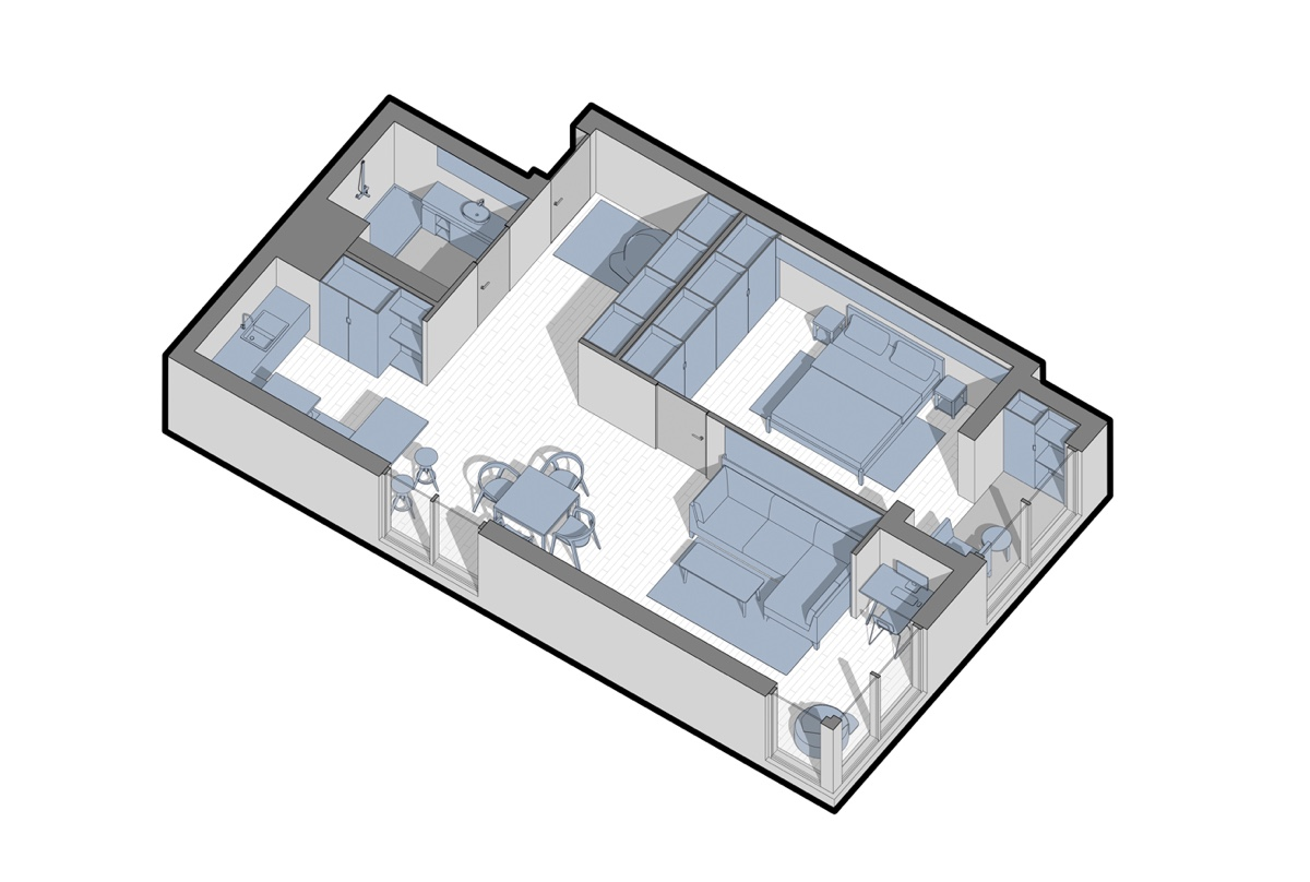Apartment Floor Plan Under  Square Metres - 3 one bedroom apartments under 750 square feet 70 square metres includes layouts