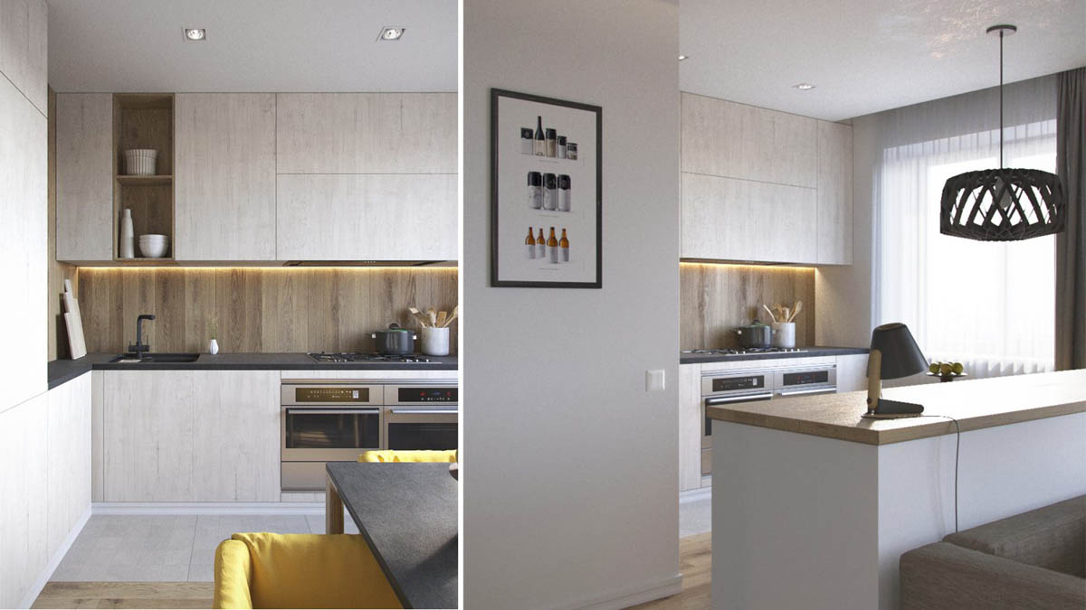 Apartment Kitchen With Wood Board Backsplash - 3 one bedroom apartments under 750 square feet 70 square metres includes layouts