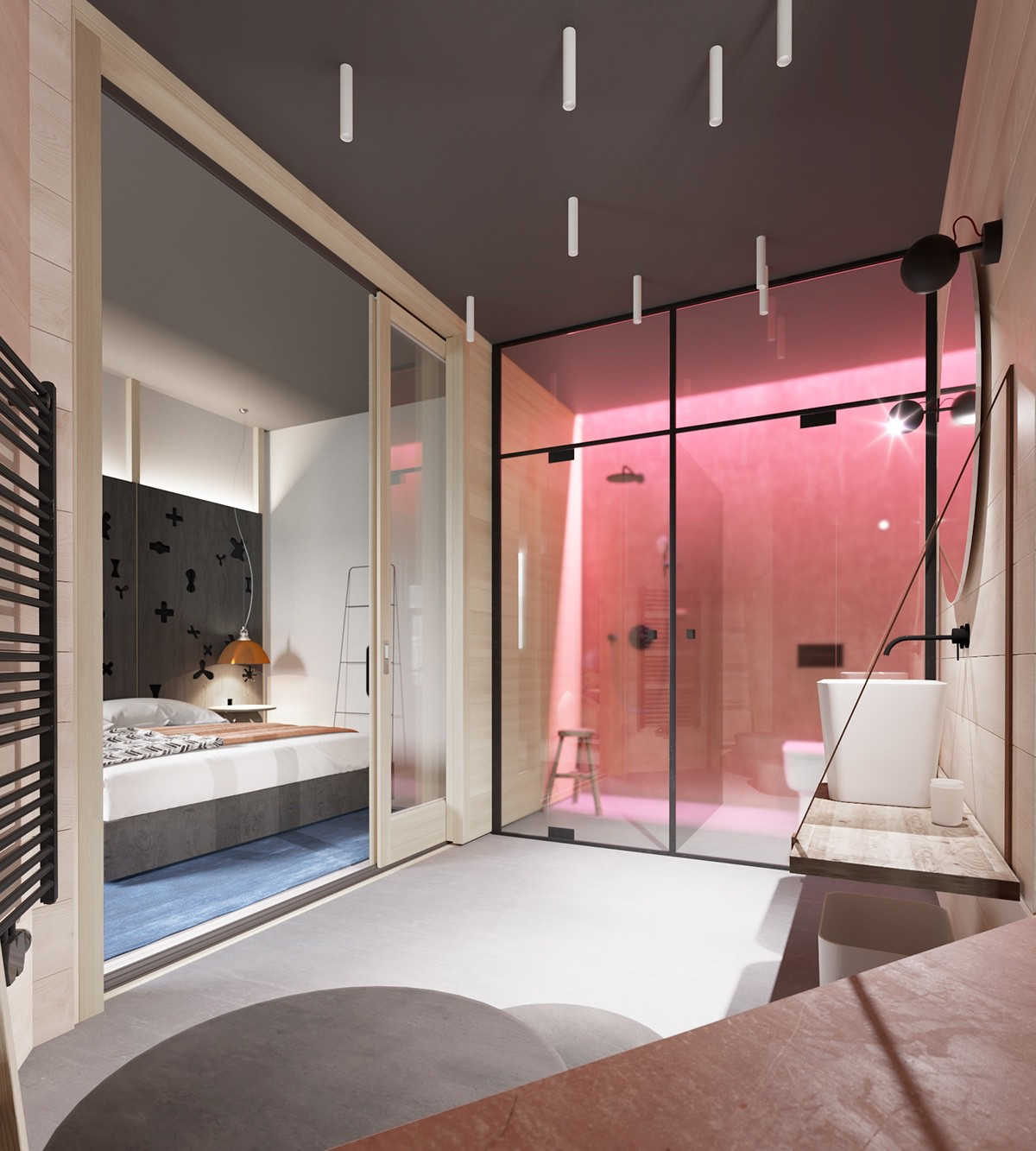 Bathroom Design Modern - A sleek apartment the divides rooms creatively