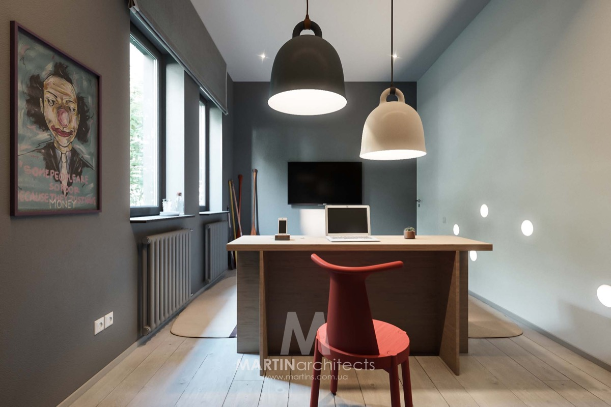 Bedroom Pendant Lighting - A sleek apartment the divides rooms creatively
