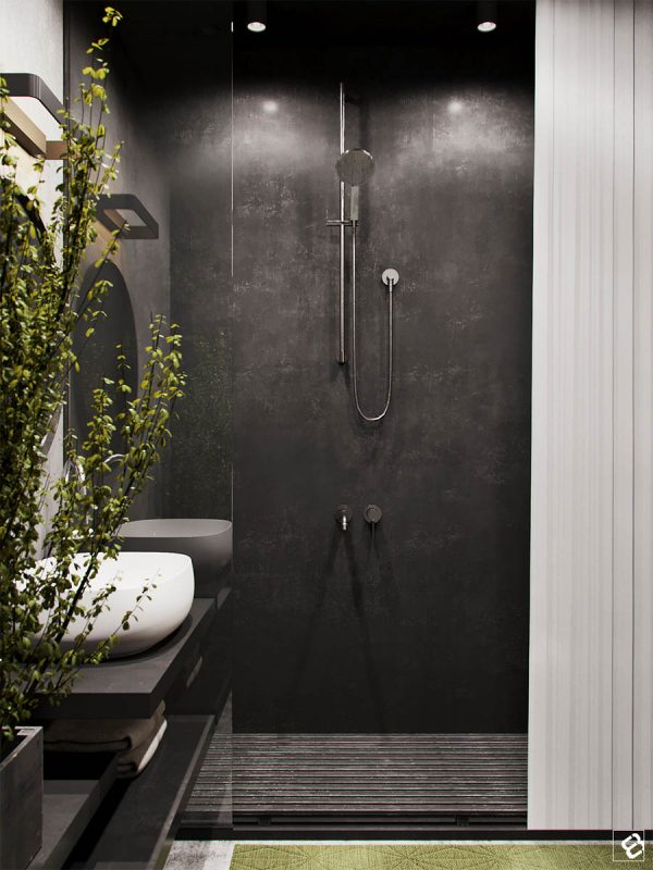 A Black Shower With Wood Slat Floor Perfect Mimics The Pallet Furniture In  The Main Area.