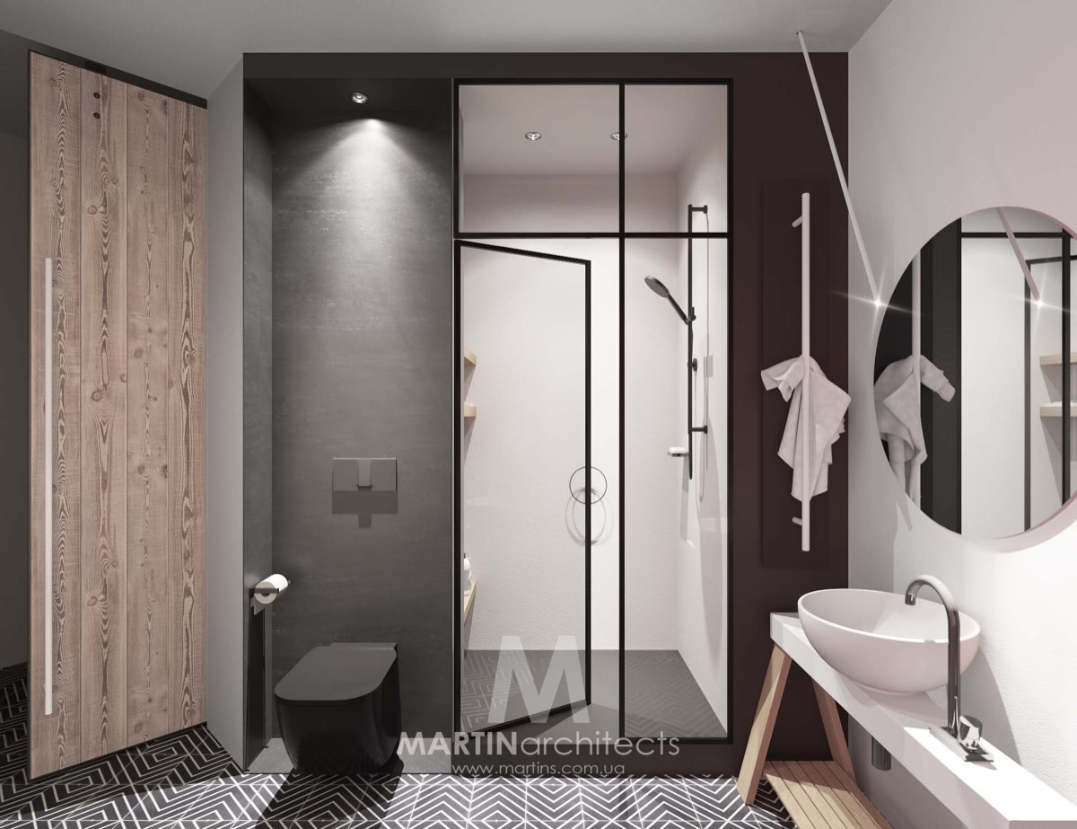 Black Bathroom Design - A sleek apartment the divides rooms creatively