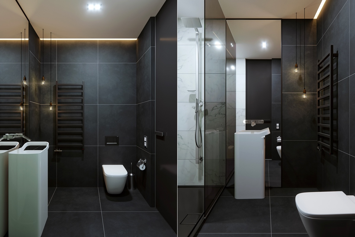 Black Tile And Marble Bathroom Design - 5 studio apartments with inspiring modern decor themes