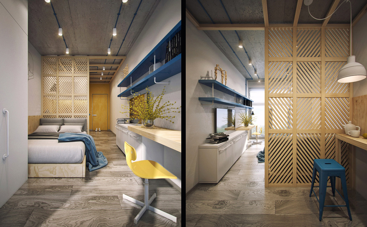 Blue And Yellow Interior Design - 5 studio apartments that use space splendidly