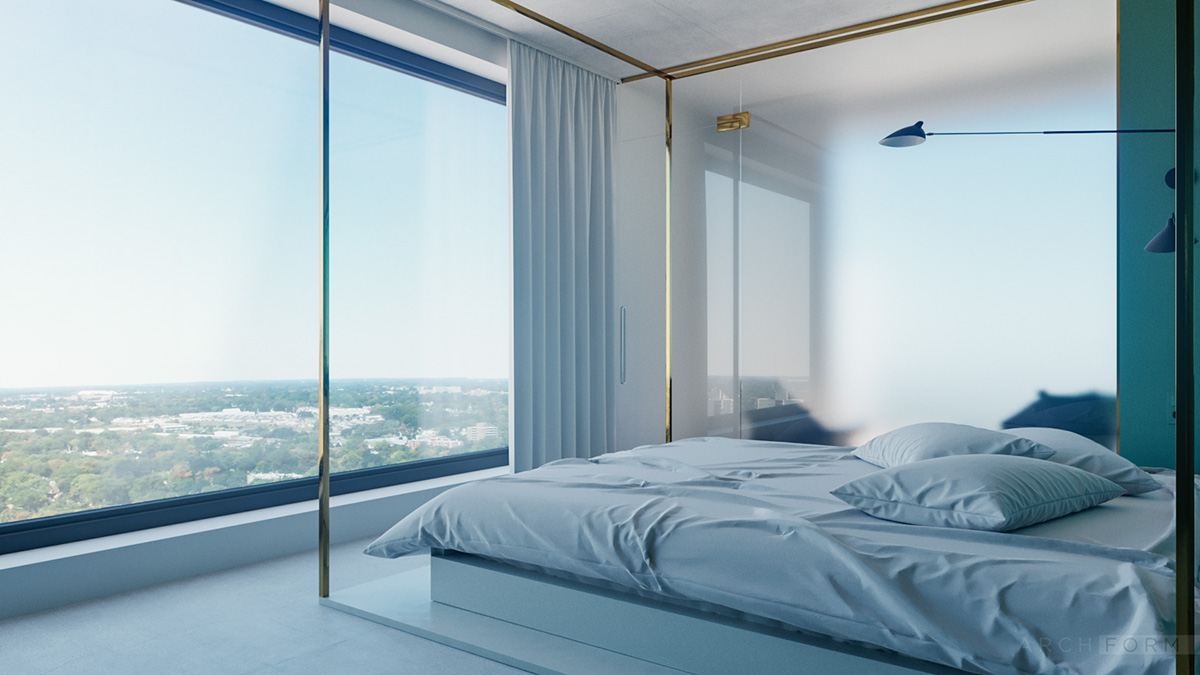 Blue Apartment Bedroom - 4 studios that make beautiful use of natural light