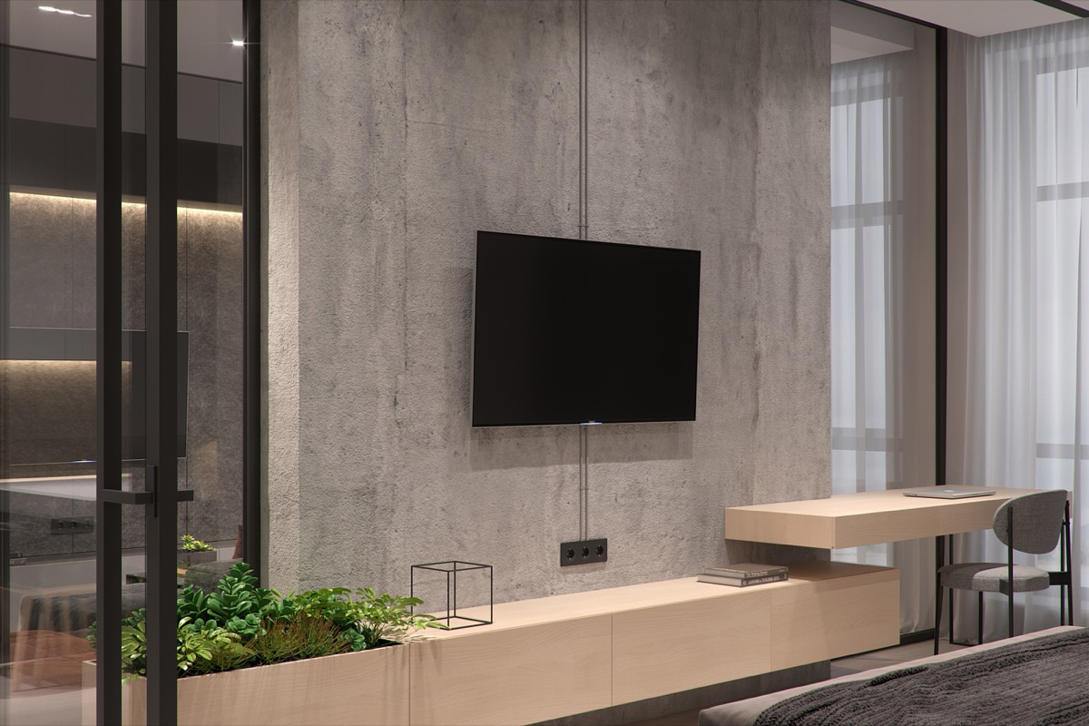 Concrete Accent Wall - 5 studio apartments that use space splendidly