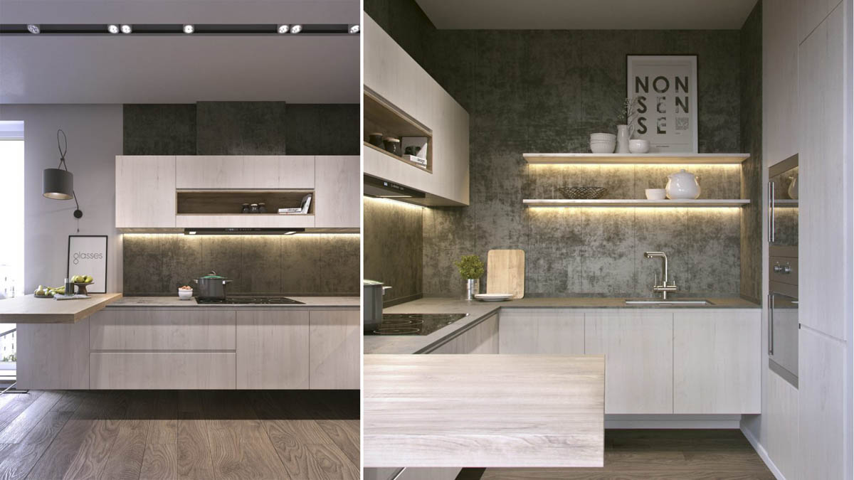 Concrete Industrial Kitchen Theme - 3 one bedroom apartments under 750 square feet 70 square metres includes layouts