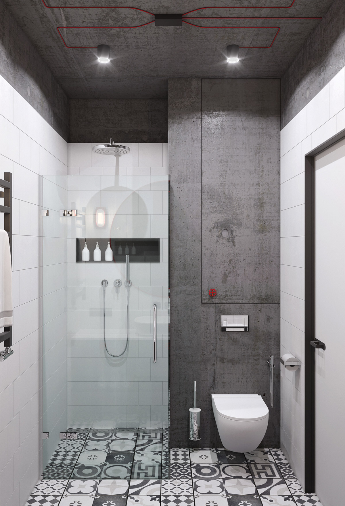 Concrete Modern Bathroom With Red Accents - 5 studio apartments with inspiring modern decor themes