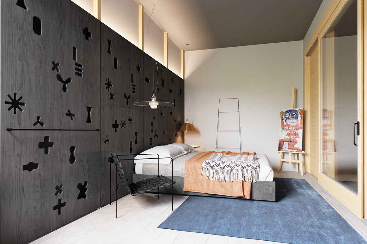 Cool Accent Wall - A sleek apartment the divides rooms creatively