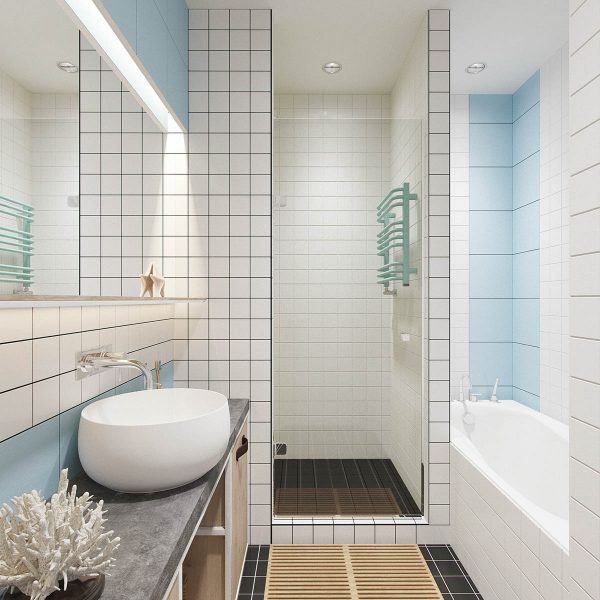 Industrial russian interior with quirky colour twists for Baby blue bathroom ideas