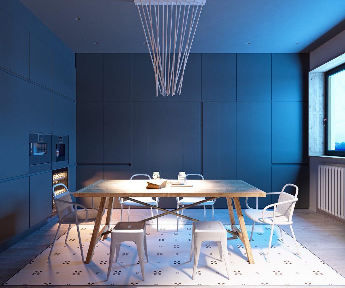 Creative Light Fixture - A sleek apartment the divides rooms creatively