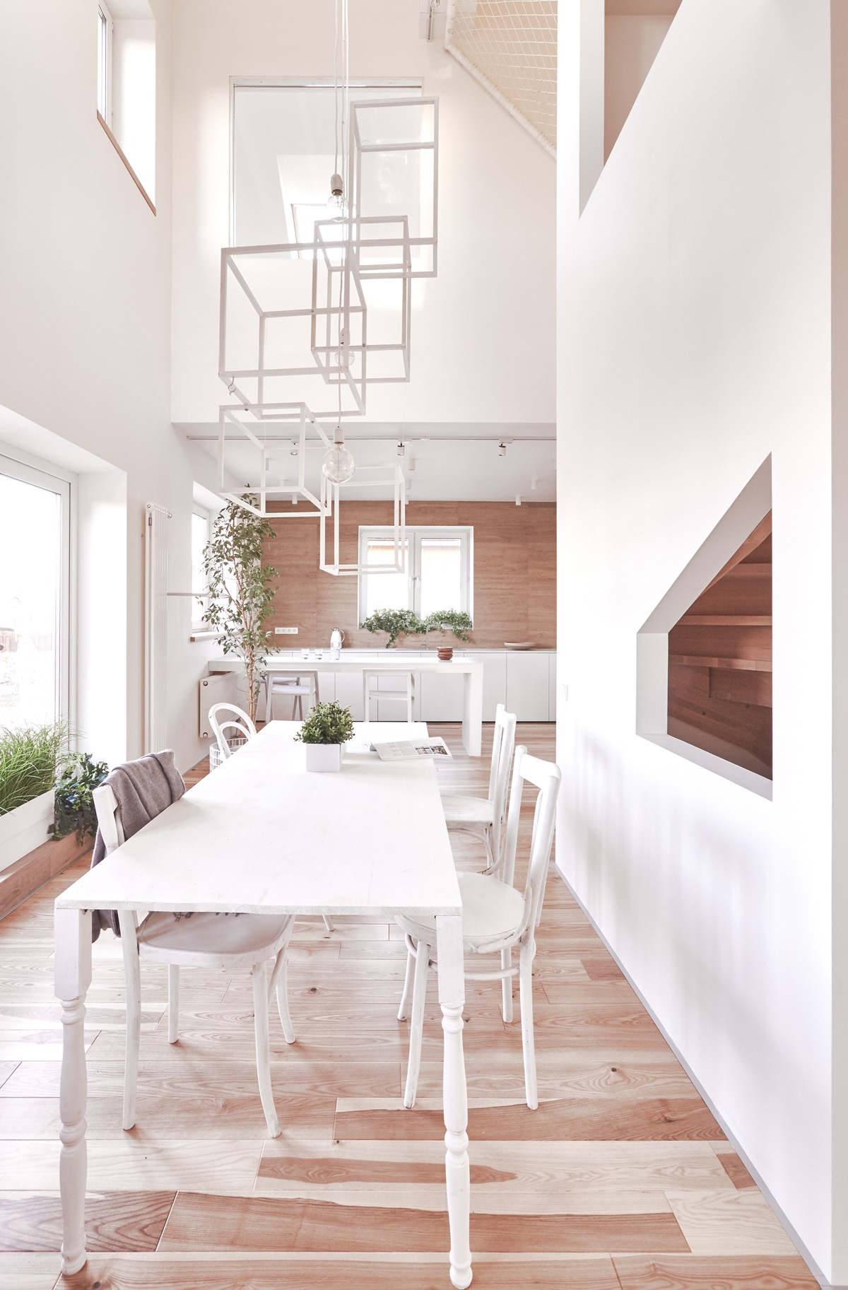 Creative Lighting Ideas - A white and wood house for a stylish family