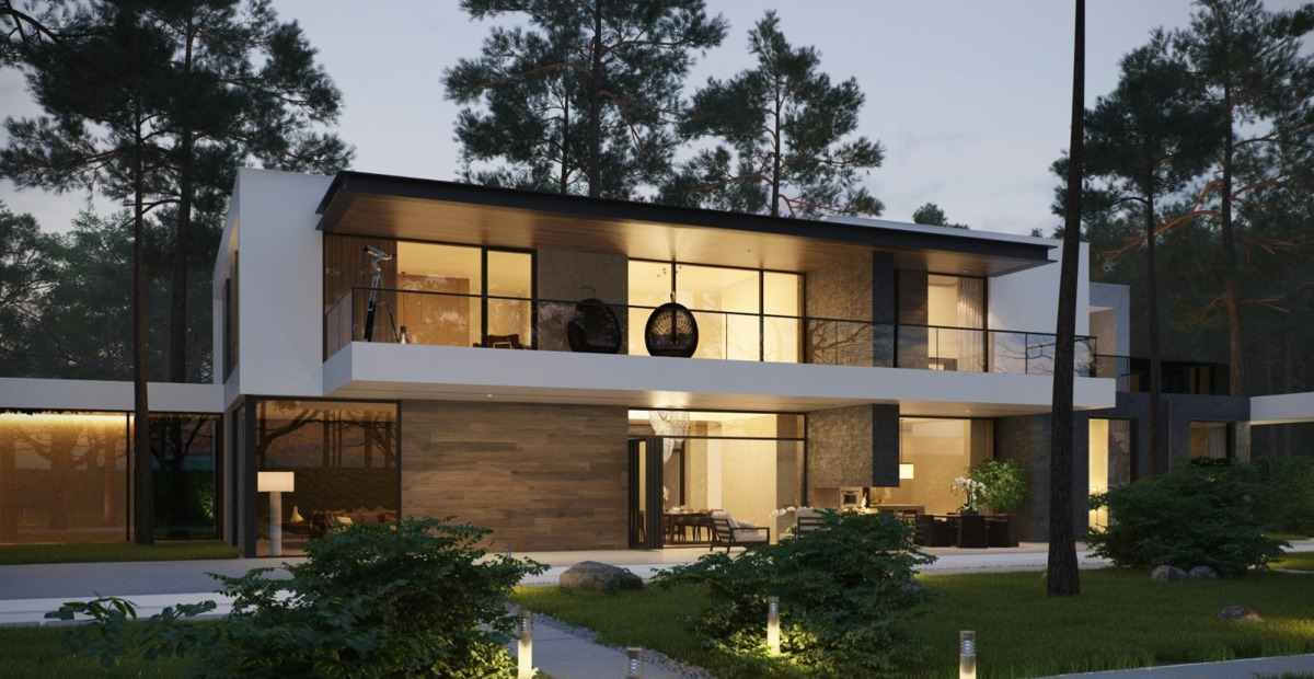 forest setting lit modern two storey house elevation