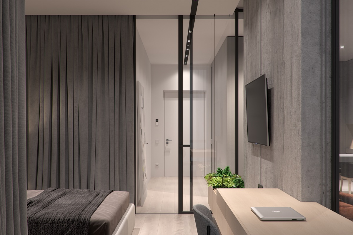 Gray Curtains - 5 studio apartments that use space splendidly