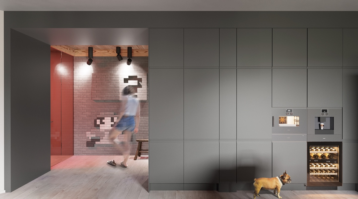 Gray Wall Ideas - A sleek apartment the divides rooms creatively