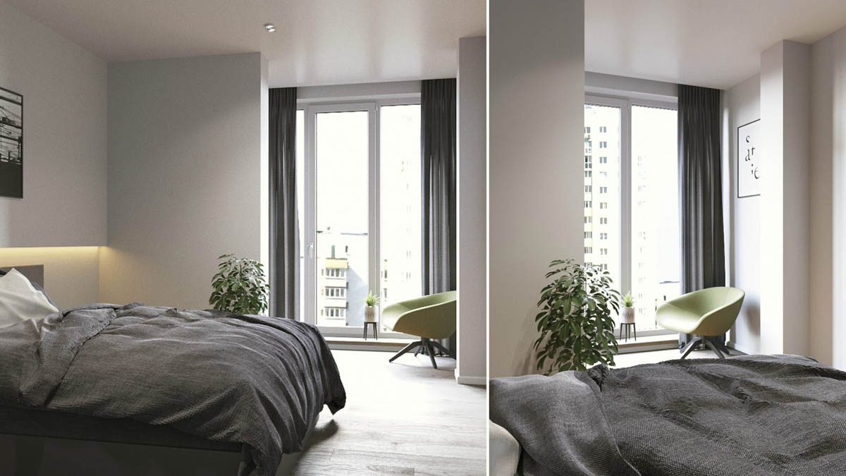 Grey And White Apartment Bedroom Design - 3 one bedroom apartments under 750 square feet 70 square metres includes layouts