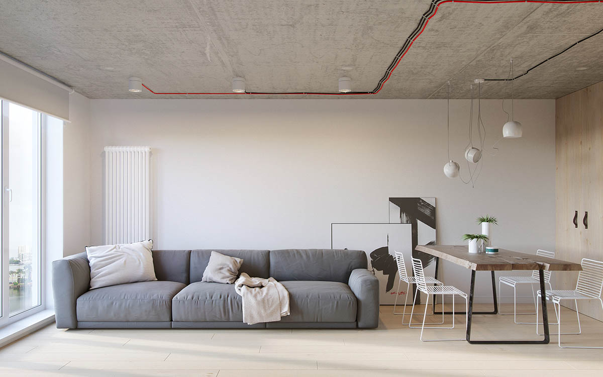 Grey Couch Charcoal And White Abstract Paintings Russian Apartment - Industrial russian interior with quirky colour twists including floor plans