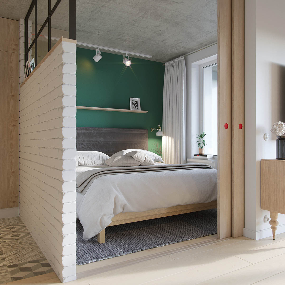 Grey Rug And Headboard Exposed Brick Wall Industrial Bedroom - Industrial russian interior with quirky colour twists including floor plans
