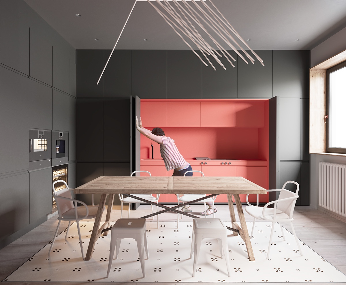 Hidden Kitchen Ideas - A sleek apartment the divides rooms creatively