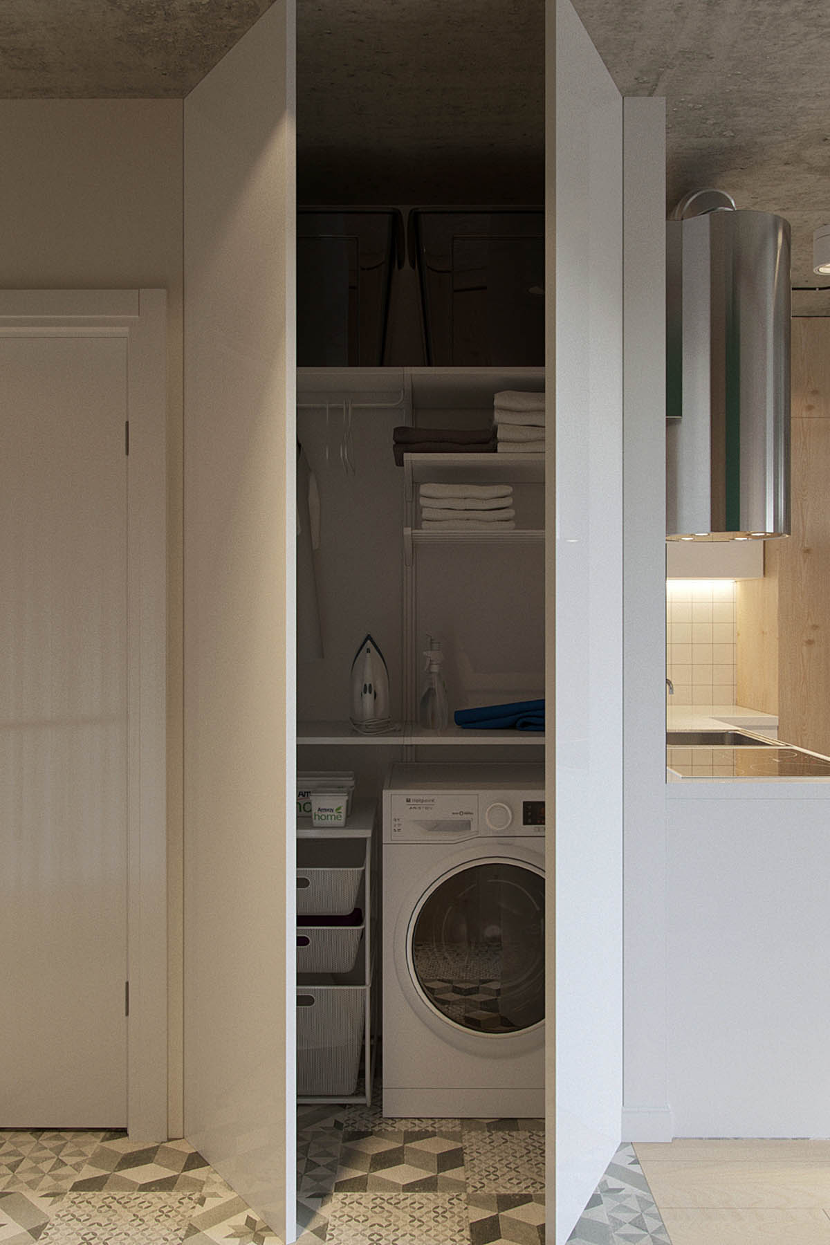 Hidden Laundry Cabinet Space Saving Apartment - Industrial russian interior with quirky colour twists including floor plans