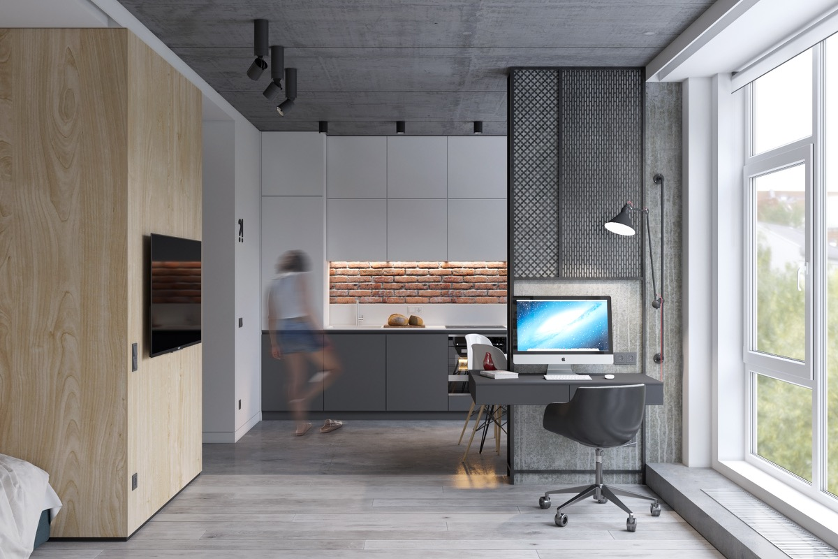 Industrial Studio Apartment Home Office - 5 studio apartments with inspiring modern decor themes
