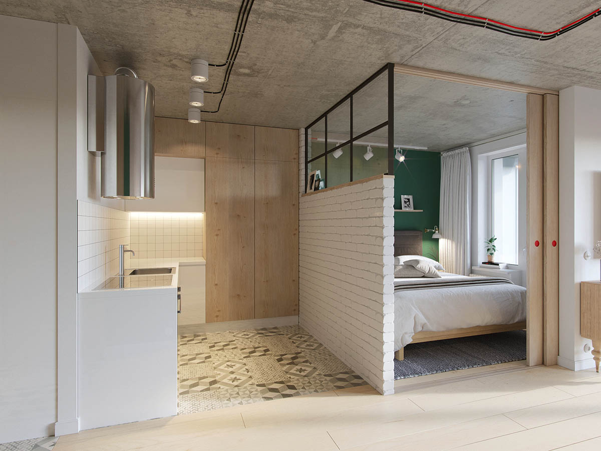 Japanese Windows White Exposed Brick Wall Space Saving Apartment - Industrial russian interior with quirky colour twists including floor plans