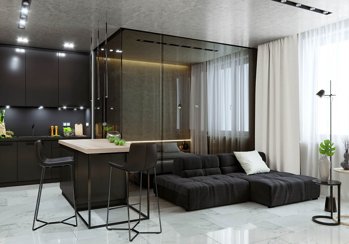 Luxurious Studio Apartment With Glass Walled Bedroom - 5 studio apartments with inspiring modern decor themes