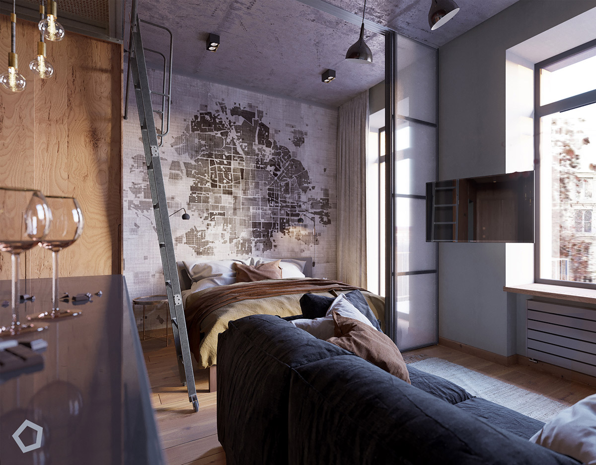 Map Accent Wall - 5 studio apartments that use space splendidly