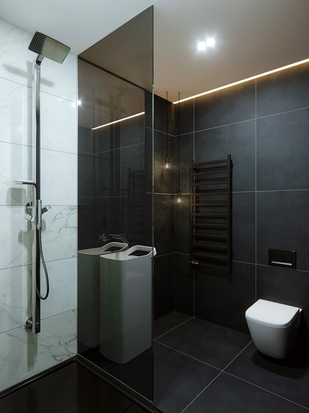 Marble And Black Tile Modern Bathroom - 5 studio apartments with inspiring modern decor themes