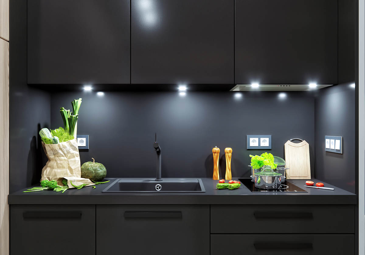 Matte Black Kitchen Design - 5 studio apartments with inspiring modern decor themes
