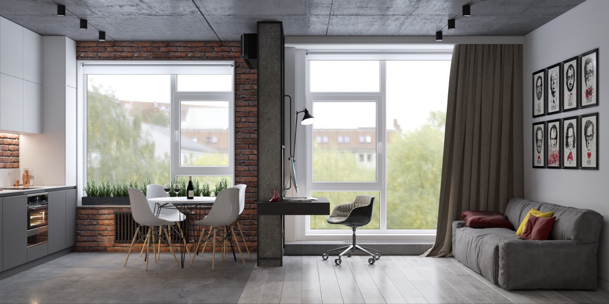 Modern Industrial Apartment With Exposed Brick Walls - 5 studio apartments with inspiring modern decor themes